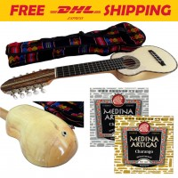 Professional Charango with Piezo Pickup + Soft Case + 2 Set of Strings
